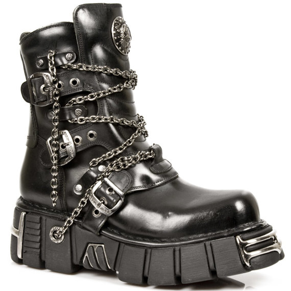 buty NEW ROCK ITALI NEGRO, TOWER NEGRO ACERO ORIFICIO M.1011-S1
