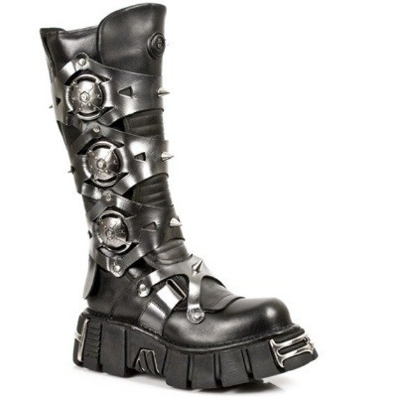 buty NEW ROCK - Itali Negro y Pulik Acero Tower Negro Acer (M.735 - S1)