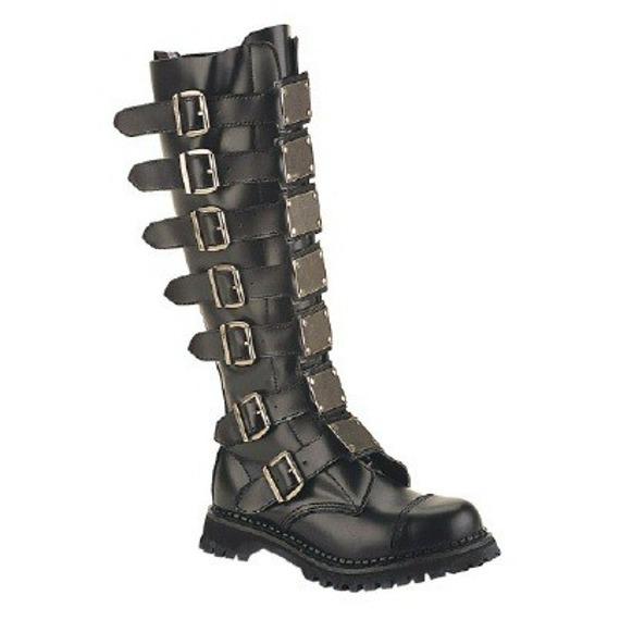 buty glany męskie DEMONIA (REAPER-30)(BLACK LEATHER)