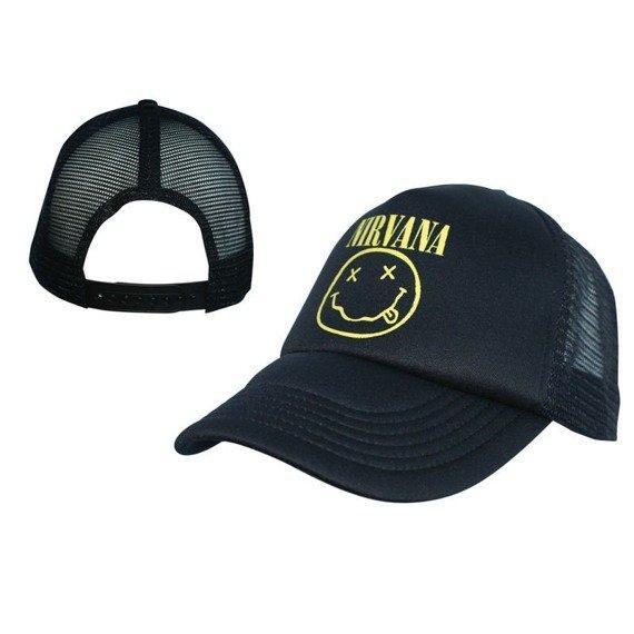 czapka NIRVANA - BLACK TRUCKER WITH SMILY PATCH