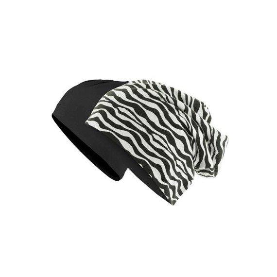 czapka dwustronna MASTERDIS - PRINTED JERSEY BEANIE zebra/black