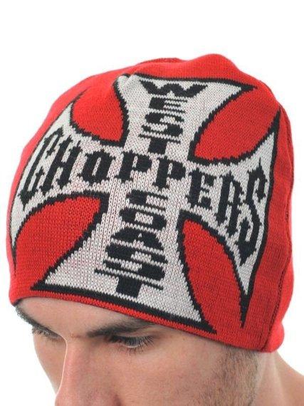 czapka zimowa WEST COAST CHOPPERS - JJ REVERSABLE RED/BLACK, obustronna