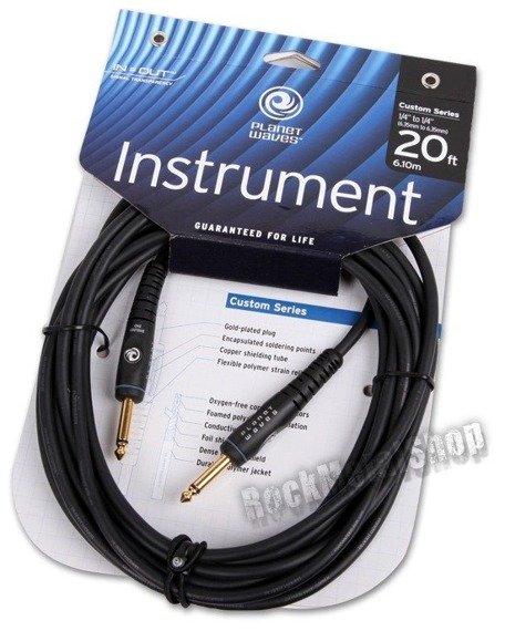 kabel gitarowy 6,10m PLANET WAVES CUSTOM SERIES jack prosty/prosty (PW-G-20)