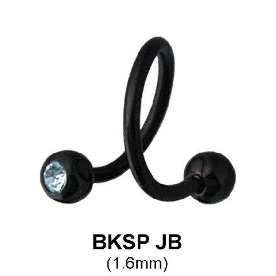 kolczyk do brwi/wargi  BODY SPIRAL BLACK LINE CZARNE OCZKA 1,6/5mm