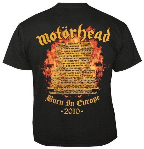 koszulka MOTORHEAD - BURN IN EUROPE 2010