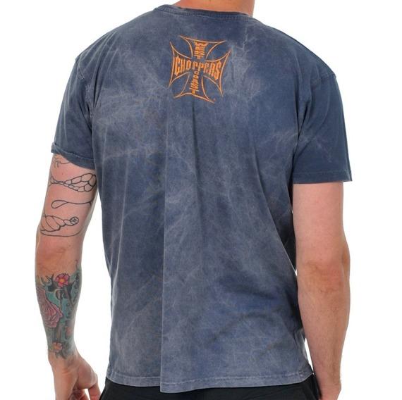 koszulka WEST COAST CHOPPERS - SKULL SPANNER vintage blue