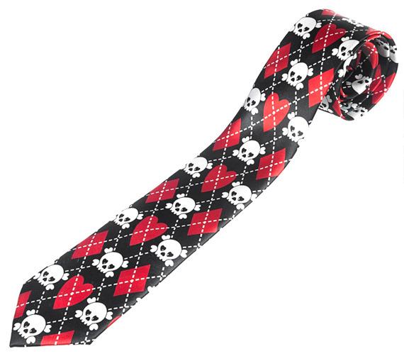 krawat SKULLS, DIAMONDS AND HEARTS red [AT1-065/07]