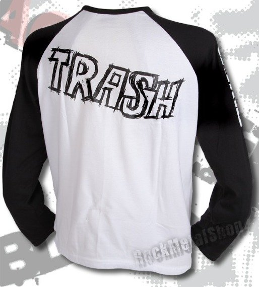 longsleeve BLACK RIVER - TRASH white/black raglan