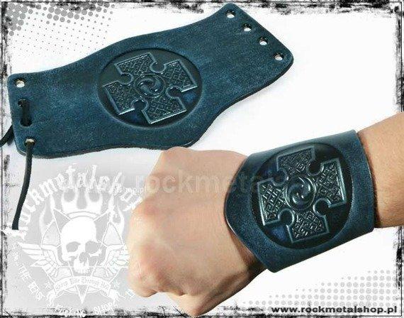 opaska na rękę wiązana 90mm CROSS blue