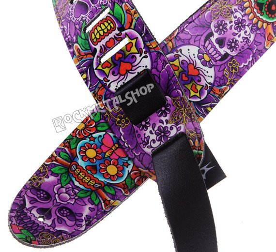 pas do gitary TATTOO JOHNNY - MEXICAN SKULLS skórzany, 63mm