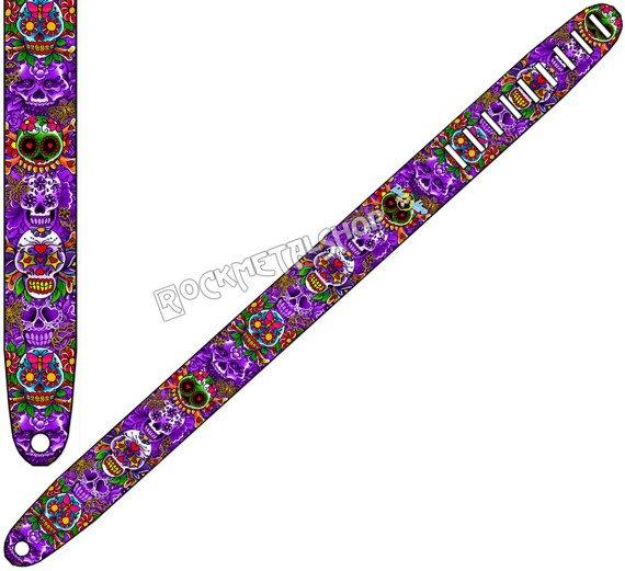 pas do gitary TATTOO JOHNNY - MEXICAN SKULLS skórzany, 63mm