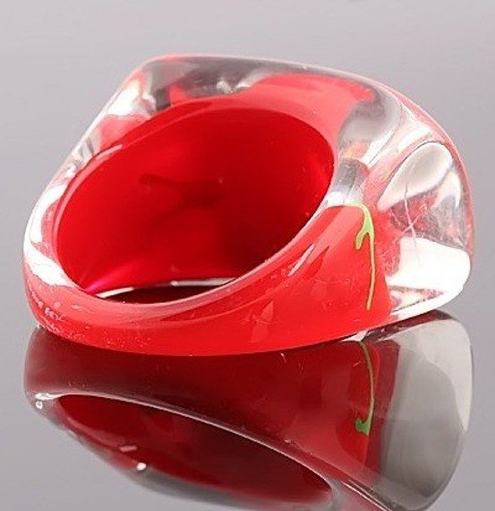 pierścień FLORAL czerwony