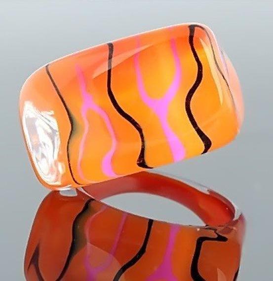 pierścień STRIPES pomarańczowy