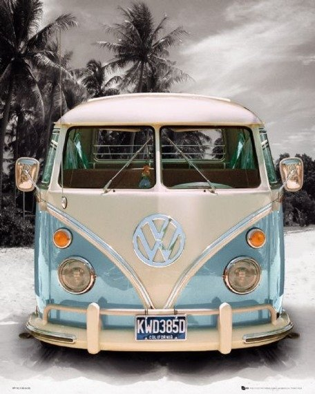 plakat VW CALIFORNIAN CAMPER - BEACH