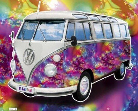 plakat VW CALIFORNIAN CAMPER - LOVE