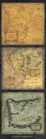 plakat na drzwi LORD OF THE RINGS - MAPS OF MIDDLE EARTH