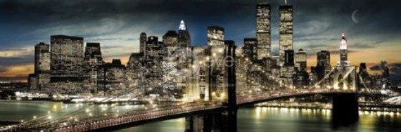 plakat panoramiczny NEW YORK - MANHATTAN NIGHT AND MOON