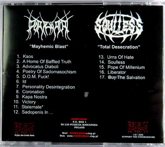 płyta CD: PORPHYRIA / SOULLESS split (RM666 004)
