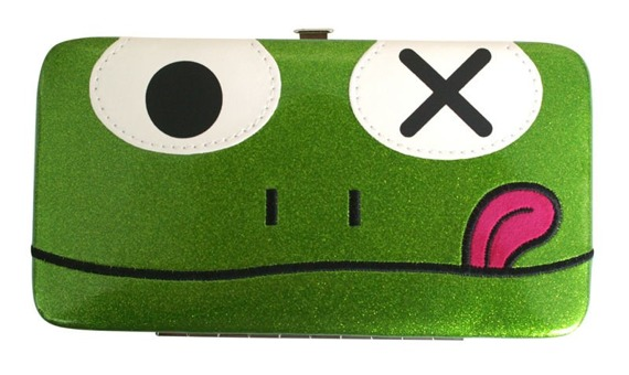 portfel FREAKS AND FRIENDS - GREEN FROG FACE HINGE