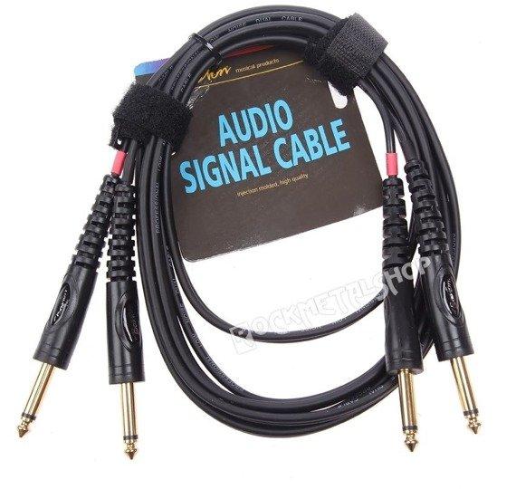 przewód audio BOSTON: 2x DUŻY JACK MONO (6.3mm) - 2x JACK MONO (6,3mm) / 3m