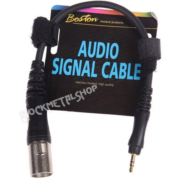 przewód mikrofonowy BOSTON: XLR męski - mały JACK STEREO (3.5mm) / 0,30m