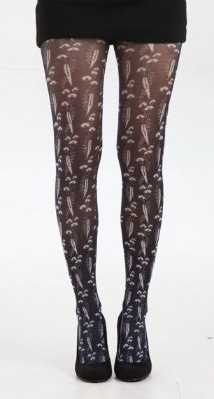 rajstopy Feathers Printed Tights - Black