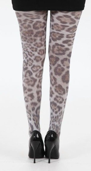 rajstopy Furry Leopard Printed Tights - Multicoloured