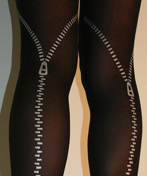 rajstopy SUWAK Flocked Zip Tights - Black