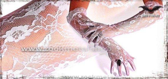 rękawiczki białe BROKAT LONG