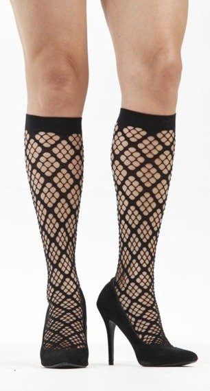 skarpety Square Holes Knee High - Black