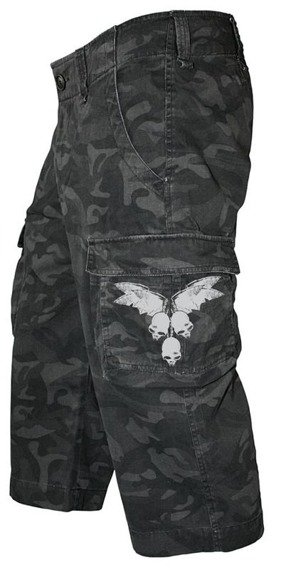 spodenki 3/4 OVERKILL - BLACK CAMOUFLAGE SHORTS