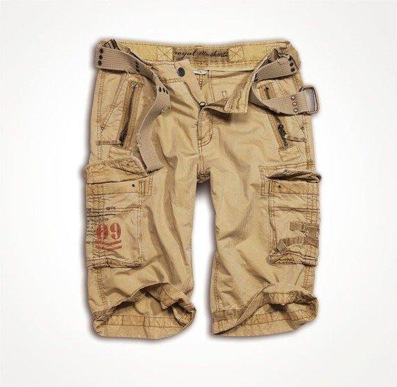 spodnie bojówki krótkie ROYAL SHORT - washed beige