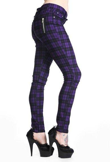 spodnie damskie BANNED - PURPLE CHECK
