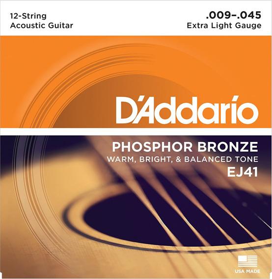 struny do gitary akustycznej 12str. D'ADDARIO - Extra Light EJ41 /009-045/