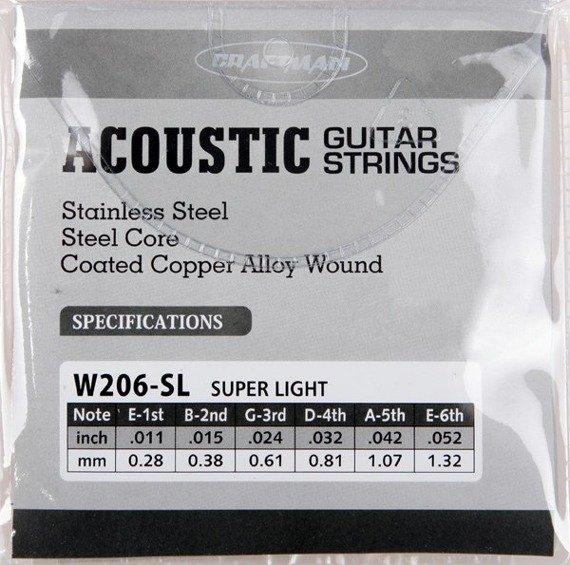 struny do gitary akustycznej CRAFTMAN COATED COPPER W206-SL /011-052/