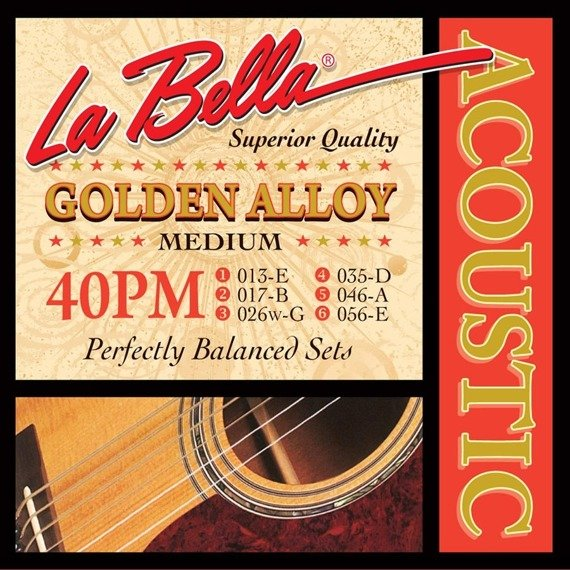 struny do gitary akustycznej LA BELLA: GOLDEN ALLOY 40PM Medium /013-056/