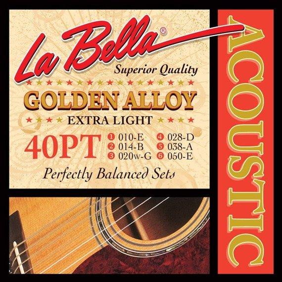 struny do gitary akustycznej LA BELLA: GOLDEN ALLOY 40PT Extra Light /010-050/